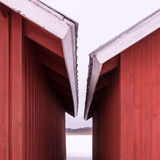 Close eaves of red wooden buildings Stock Image
