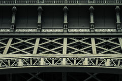 Close of the Eiffel tower in low angle view, during summer in Paris, France. Royalty Free Stock Photography