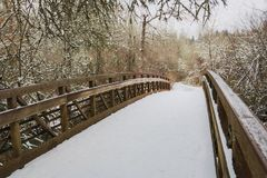 Close, Elevated View of Snow Covered Wooden Bridge in Wooded Area, Daytime stock image