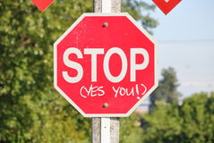 Close on Emphatic Stop Sign Royalty Free Stock Image