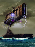 Close encounter. Amazing alien spaceship over an aircraft carrier, close encounter between humans and aliens Stock Image