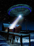 Close encounter. Night scene of Unidentified Flying Object enlightening a house, close to a pier with a tied boat stock illustration