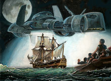 Close encounter in the past. Original gouache painting of  an UFO over an eighteenth  century ship. The sailors, frightened, abandoned their ship in a rowboat Royalty Free Stock Photography