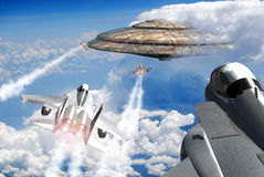 Close encounter in the sky. F15 fighters over the clouds, going to a close encounter with an UFO just in front of them royalty free illustration
