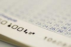 close för check för accountbok upp fotografering för bildbyråer