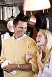 Close father and teen daughter laughing in kitchen Royalty Free Stock Image