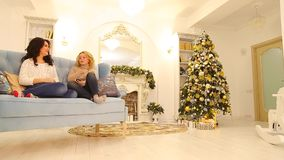 Close female friends talk and sit on couch in bright living room decorated in festive with high New Year pine. stock video footage