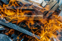 Close fire in fireplace with burning wood, close up Stock Photography