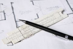 Close focus on architect's tools Stock Photography