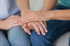 Close friends touching hands Royalty Free Stock Photo