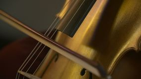 Cello in orchestra. Musician playing Cello stock footage