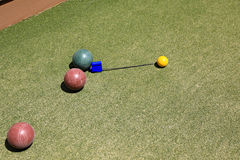 Close game in bocce Stock Image