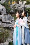 Close girlfriends bestie in Chinese traditional ancient costume Royalty Free Stock Photography