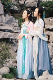 Close girlfriends bestie in Chinese traditional ancient costume Stock Images