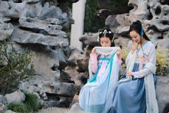Close girlfriends bestie in Chinese traditional ancient costume Royalty Free Stock Photos