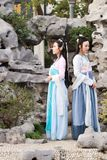 Close girlfriends bestie in Chinese traditional ancient costume Stock Photo