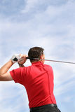 Close Golf. Close up shot of a young golfer from behind Stock Photo