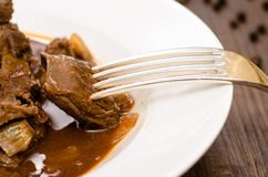 Close of goulash on a fork Stock Image