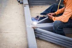 Close hand man arc welding or stick welding Royalty Free Stock Photos