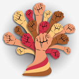 Close hands tree - unity concept. Vector stock illustration