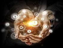Social interaction concept . 3D render. Close of human hands holding with care networking concept. 3D render Stock Image