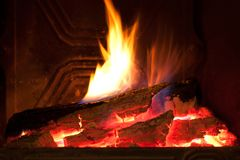 Fireplace close up Royalty Free Stock Image