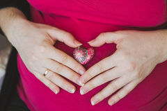 Close image of pregnant woman Royalty Free Stock Photo