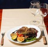 Close image of t-bone steak in restaurant Royalty Free Stock Photos