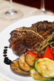 Close image of t-bone steak in restaurant Stock Photo