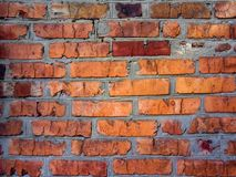 A close-up shot of a rough brick masonry wall lined with red clumsy brick for creativity, textures and background. Royalty Free Stock Image