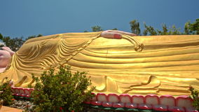 Close Large Lying Buddha from Feet to Head in Temple Park stock video