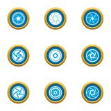 Close lens icons set, flat style. Close lens icons set. Flat set of 9 close lens vector icons for web isolated on white background Stock Images