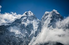 Beautiful view of Ama Dablam from trek to Everset in Nepal. Himalayas. royalty free stock photography
