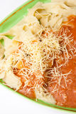 Close look on cooked noodles with bolognese sauce Stock Photography