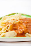 Close look on cooked noodles with bolognese sauce Royalty Free Stock Photo
