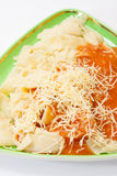 Close look on cooked noodles with bolognese sauce Royalty Free Stock Photos
