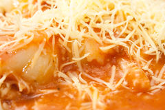Close look on cooked noodles with bolognese sauce Stock Photos