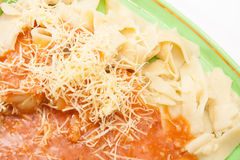 Close look on cooked noodles with bolognese sauce Stock Image