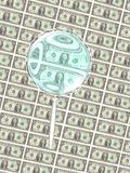 A Close look at the Green Back. A computer generate image of a magnifying glass taking a close look at the US currency royalty free illustration