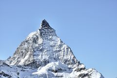 Close look on Matterhorn East face from Zermatt royalty free stock image