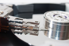 Close look at the old open hard disk Royalty Free Stock Image