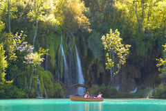 Close look at the waterfalls. From a boat, lake Kozjak, Plitvice national park, Croatia Stock Images