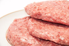 Close macro view of raw minced meat burders Stock Photography