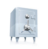 Close metallic safe. Vector illustration on white background EPS10. Transparent objects and opacity masks used for shadows and lights drawing Royalty Free Stock Photo