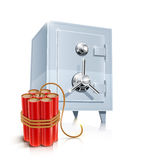 Close metallic safe with bomb. Vector illustration on white background EPS10. Transparent objects and opacity masks used for shadows and lights drawing Stock Images