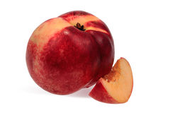 Close nectarine and cut a slice Stock Photography