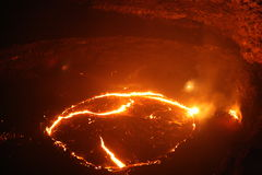 Close Night view to Erta ale lava lake Royalty Free Stock Photo