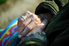 Close of old woman hands Stock Photos