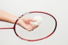 Close-Omhooggaande het badmintonracket en shuttles van het badminton Royalty-vrije Stock Foto