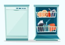 Close and open dishwasher with dishes. Royalty Free Stock Photos